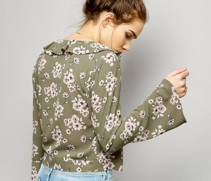 green-floral-print-v-neck-wrap-front-shirt-